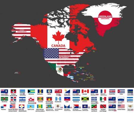 Vektorillustration der Nordamerika-Karte (einschließlich Nordamerika, Mittelamerika und Karibik) mit Ländernamen und Länderflaggen.