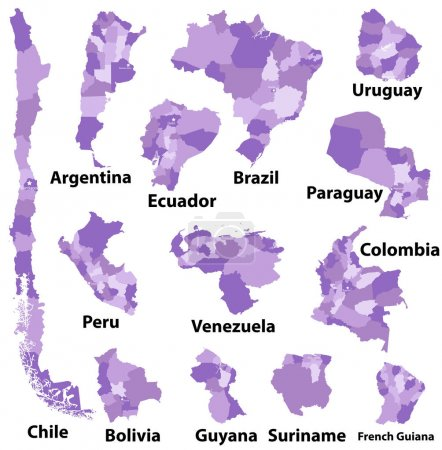 vector maps of South America countries with administrative divisions (regions borders)