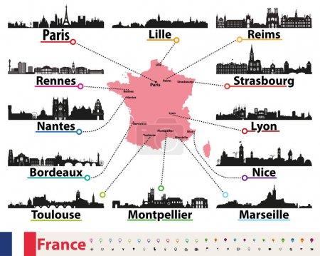 Illustration pour France carte avec les plus grandes villes silhouettes skylines ensemble vectoriel - image libre de droit