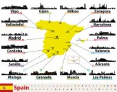 vector map of Spain with largest cities skylines silhouettes