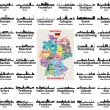 Germany map with largest cities skylines silhouett...