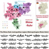 The Rhine-Ruhr metropolitan region vector map with largest cities skylines silhouettes
