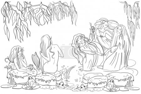 Étang du soir, sirènes aux longs cheveux magnifiques, branches de saule, plantes et fleurs de rivière, grenouilles, sirènes dansent, illustration vectorielle, dessin de contour, livre à colorier