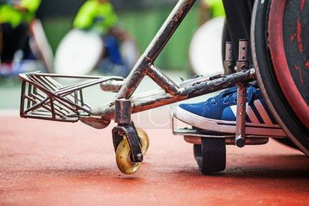 closeup of the feet on a wheelchair