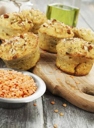 Lentil muffins on the table