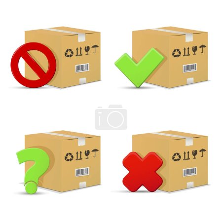 Cardboard boxes icons set