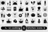 Cooking and kitchen icons set