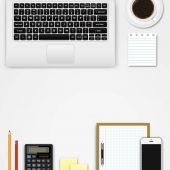 Workspace top view Mobile devices and office supplies on workplace desk with copy space