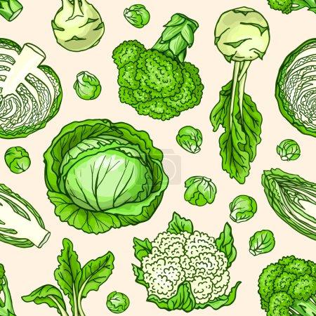 Illustration pour Vecteur croquant de légumes motif sans couture . - image libre de droit
