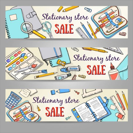 Back to school illustration set of templates. Illustration concepts with stationery for graphic design, web banner and printed materials.
