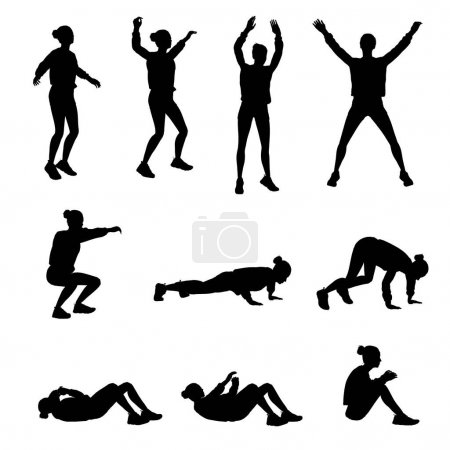 Photo for Isolated silhouette: woman does various exercices of fitness - Royalty Free Image