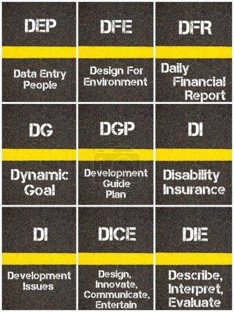 Photo pour Collage de photos d'acronymes d'entreprises écrits sur la ligne de peinture jaune de marquage routier - image libre de droit