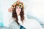 Beautiful woman with flower crown