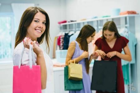 Young girls making shopping