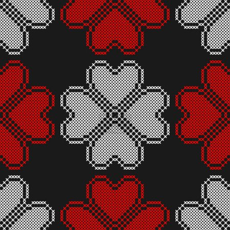 Illustration for Hearts. Geometric background. Imitation cross stitch. Seamless decorative design for valentine day, wedding cards. - Royalty Free Image