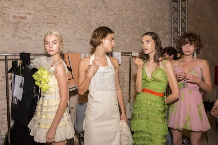 Photo for MILAN, ITALY - SEPTEMBER 22: Gorgeous models pos in the backstage just before Brugnano show during Milan Women's Fashion Week on SEPTEMBER 22, 2017 in Milan. - Royalty Free Image