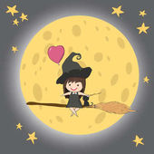 Witch cute and black cat ride on the swinging with broom on a mo