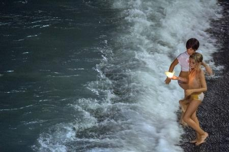 CAMOGLI, ITALY - AUGUST 6 2017 - Stella Maris traditional candles on the sea celebration