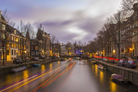Photo for View on romantic canal Keizergracht  in Amsterdam at night with city light and reflection on water - Royalty Free Image