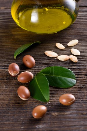 Close up of Argan fruits and oil