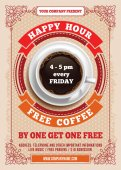 Happy Hour Free Coffee Vintage illustration template for web poster flyer invitation to party Vector stock illustration