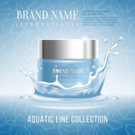 Illustration for Excellent cosmetics advertising, hydrating cream. For announcement sale or promotion new product. Blue cream bottle on original background and with water splash. Vector illustration. - Royalty Free Image