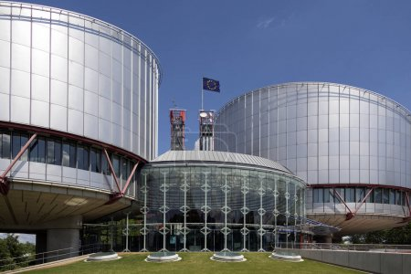 Photo for The European Court of Human Rights Building in Strasbourg, France - an international court established by the European Convention on Human Rights. - Royalty Free Image