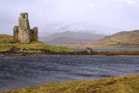 Photo for Ruins of Ardverk Castle on Loch Assynt in the Scottish Highlands in north west Scotland. - Royalty Free Image