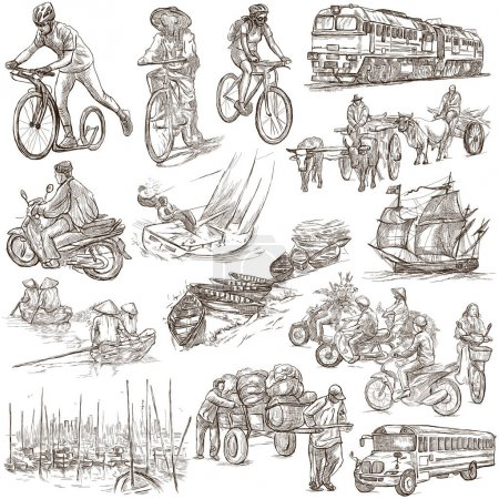 Photo for An hand drawn collection of TRANSPORTATION and Transport around the World. Hand drawings, freehand sketching. Line art on white. Isolated. - Royalty Free Image