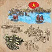 Vietnam Pictures of Life Colored vector pack Hand drawings