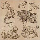 Zvířata v akci, predátoři - ručně kreslenou vektorové ilustrace