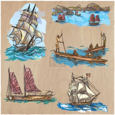 Boats - An hand drawn colored vector pack. Line art.