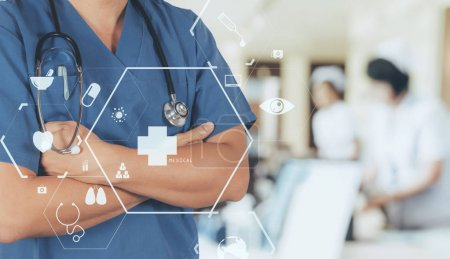 Healthcare and Medicine concept.smart medical doctor working wit