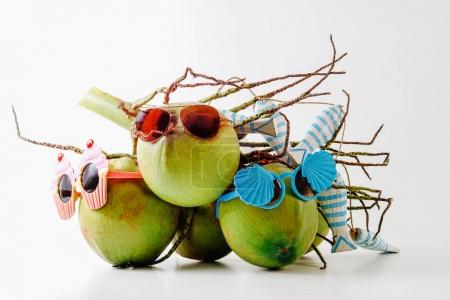 Family Summer and holiday symbolic concept.group of coconuts wit