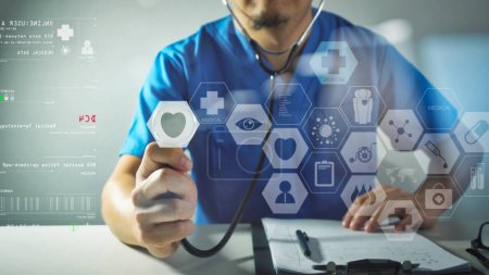 Photo for Medical techonlogy concept,smart doctor hand working with modern computer in hospital office with virtual icon diagram - Royalty Free Image