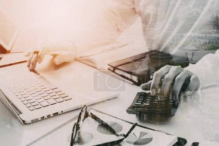 businessman hand working with finances about cost and calculate