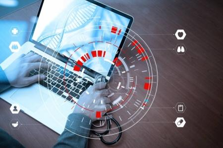 Medical techonlogy concept,smart doctor hand working with modern