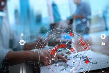 Medical technology concept,smart doctor hand working with modern