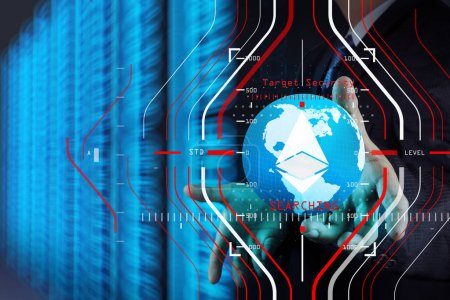 Businessman hand working with 3d globe with Cloud Computing diag