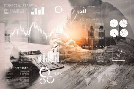 Photo for Financial report data of business operations (balance sheet and  income statement and diagram) as Fintech concept.Double Exposure,businessman working with new start up project and using smart phone digital tablet. - Royalty Free Image