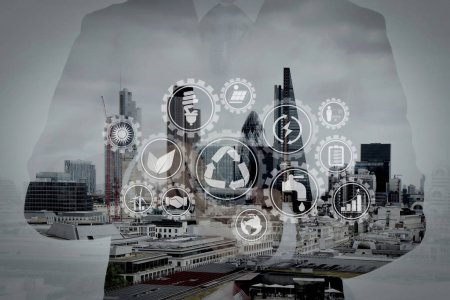 Double exposure of success businessman using smart phone and soc