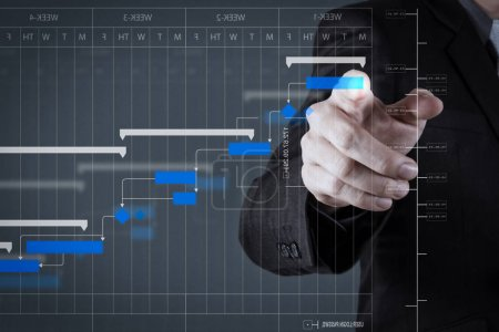 Project manager working and update tasks with milestones progress planning and Gantt chart scheduling diagram.