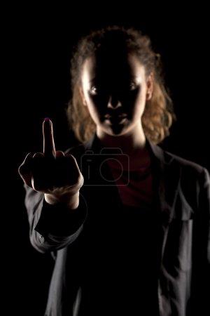 girl showing middle finger