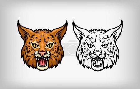 Illustration pour Illustration stylisée d'une tête de lynx sauvage sur fond blanc pour la conception de l'entreprise - image libre de droit
