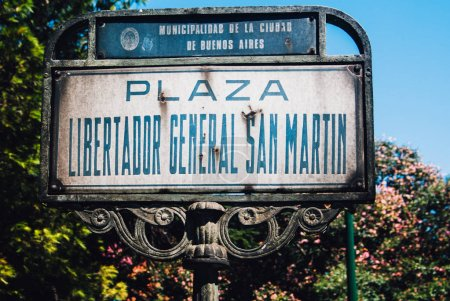 Photo pour Sign of Plaza Libertador General San Martin, Buenos Aires, Argentina - image libre de droit