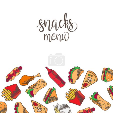 Set of fast food icons over white background, fast...