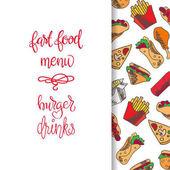 Set of fast food icons over white background fast food menu color illustration