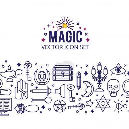 Magic icons set. sparkle magic lights. mystery mir...