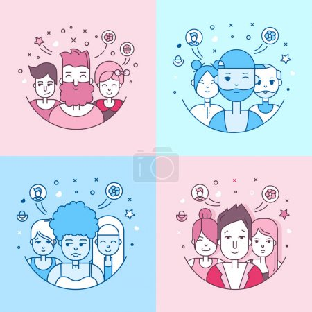 Illustration for Set of people faces flat icons. Social media avatars, userpics and profiles - Royalty Free Image