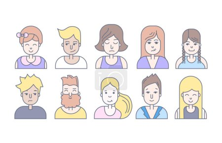 set of people faces icons